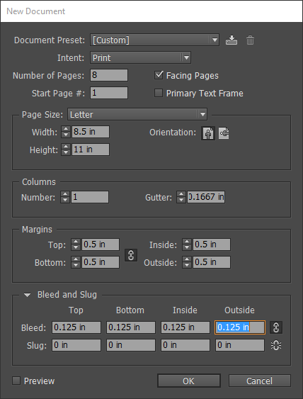 remove bleed and slug off existing document indesign