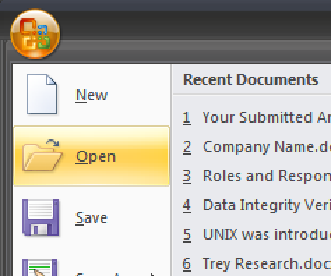 opening a document in ms word