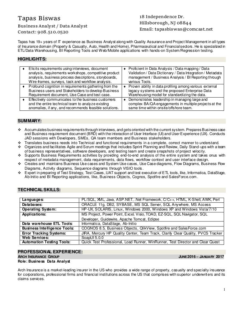 sample business requirements document insurance