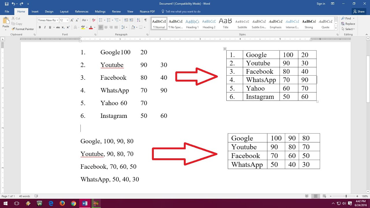 convert all tables in word document to text