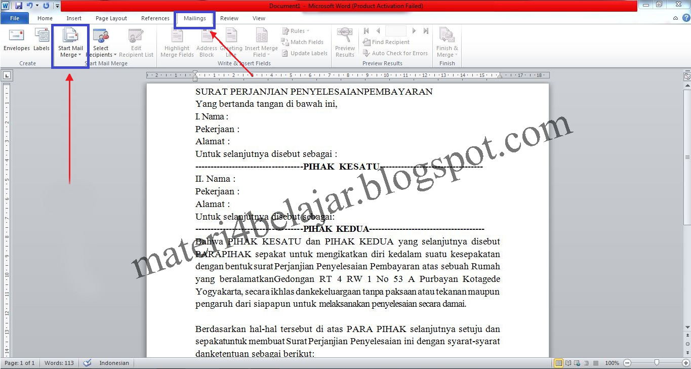 mail merge in a word document