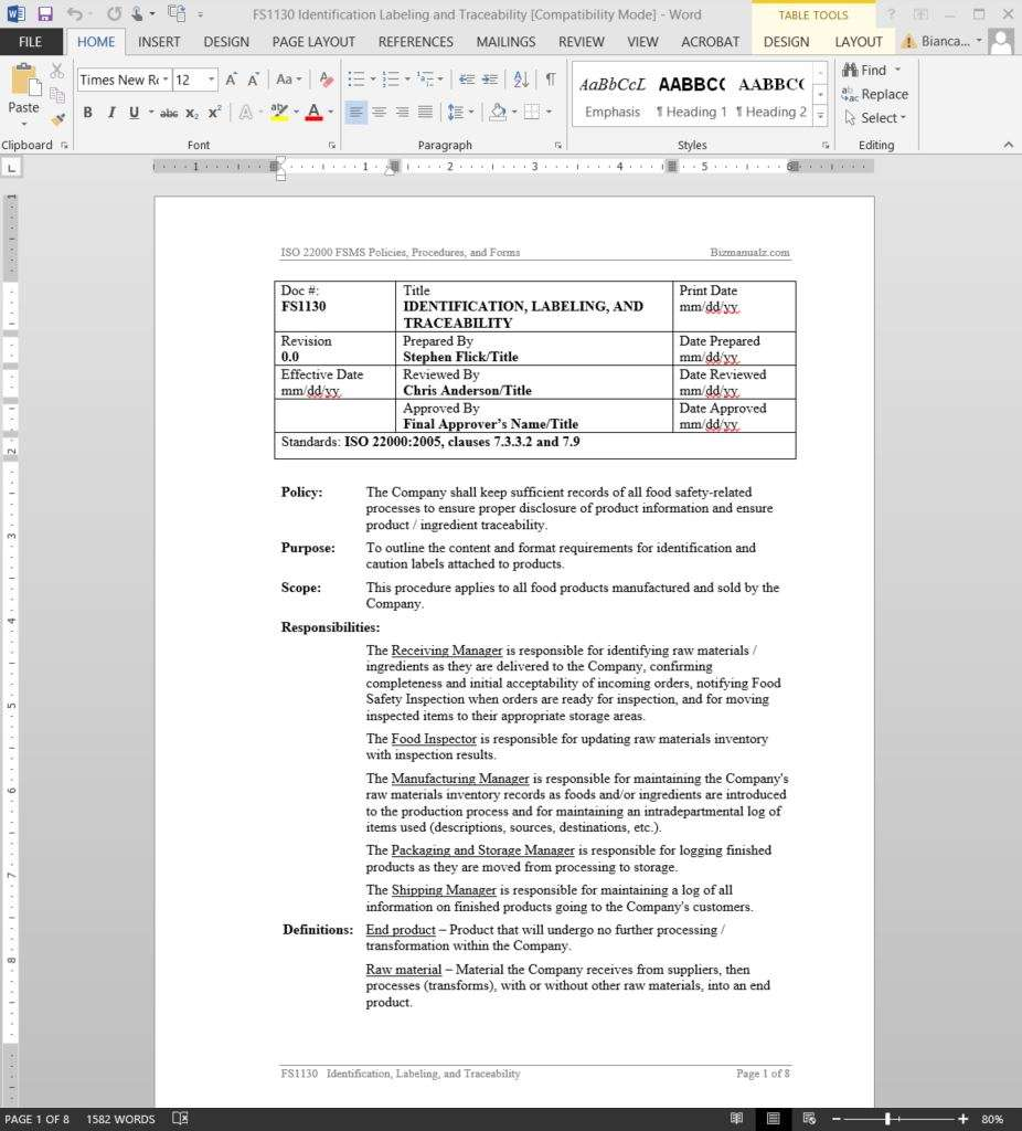 document control policy and procedure