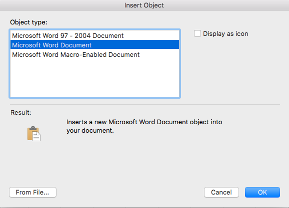 how to embed a word document into an email