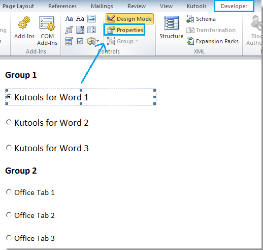 how to view properties of a word document